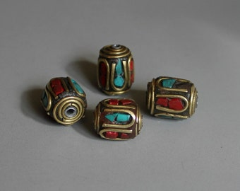 10pcs Nepal Tibetan Brass Bead With Turquoise Coral Inlay 11mm x 9mm - A129