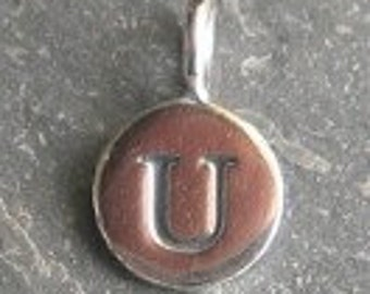 solid STERLING silver letter U round alphabet charm , personalise your jewellery with quality letters