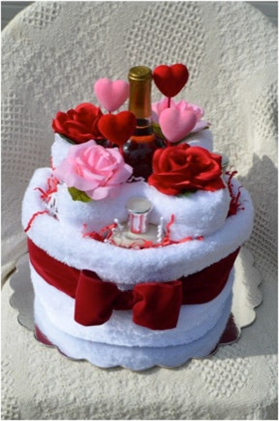 Items Similar To Valentines Towel Cake Gift Set On Etsy