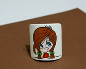 "Scrunchy ""Girl"". Wood, hand-painted."