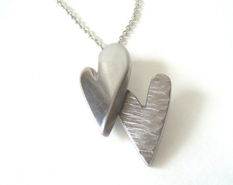 Double Heart Pendant and Necklace Made From Recycled Repurposed Stainless Steel Metal