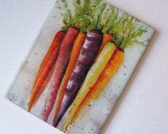 Rainbow Carrots Vegetable art tile 6 x 8  food cooking garden