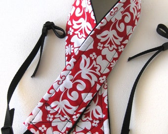 Custom Camera Strap // Designer Camera Strap // Camera Strap // RED with White flowers