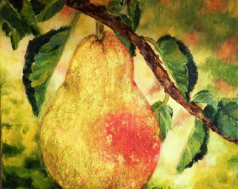 Original Acrylic Painting Pear Tree Still Life with Yellow Pear Fruit Painting
