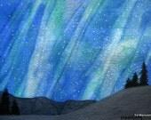Folds in the Night Sky. Aurora Borealis Series. Northern Lights. 5X7 Archival Print. Indigo Blue. Midnight Blue. Aqua. Celestial