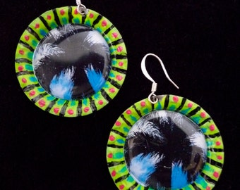 Palm Tree Ciel Bleu Upcycled Handpainted Bottle Cap Earrings
