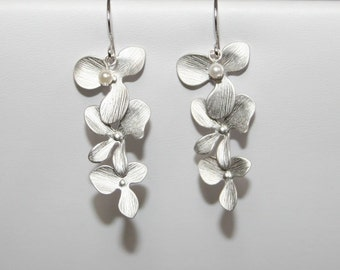 SALE!  Orchid earrings with tiny pearls