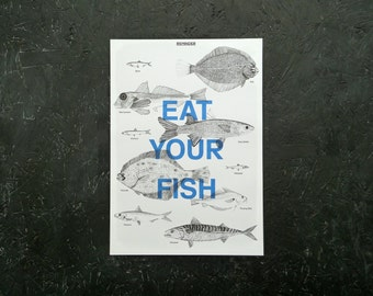 Reminder: Eat Your Fish - An A3 Print on Sustainable Fish in the UK