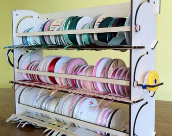 "Ribbon Holder Storage Rack Organizer  Holds 80 Spools  NO Dowels   Stackable  Easy Load   2.5-4.25"" Spools"