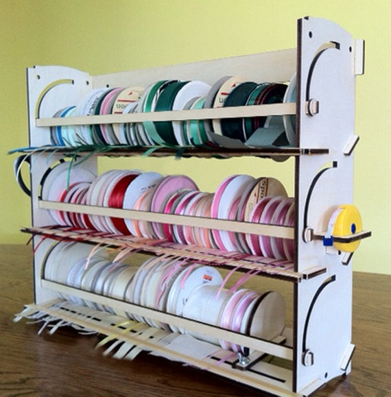 Ribbon Holder Storage Rack Organizer NO Dowels Stackable Easy Load