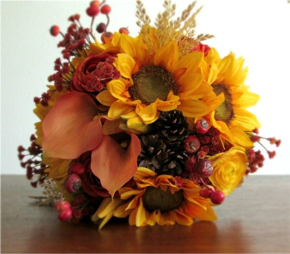 Silk Orange Fall Flowers: Autumn Fall Silk Flower Bridal Bouquet Sunflowers By