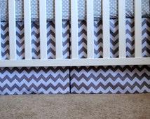 Mini Crib Box Pleat Skirt in grey and white chevron