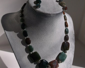 Fancy Jasper and Sterling Silver Necklace and Earrings