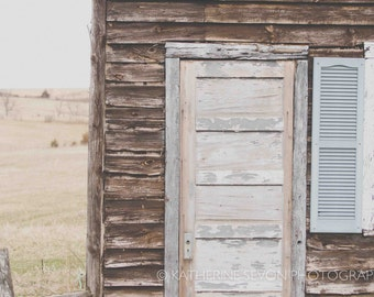 Rustic Farmhouse Photo - Fine Art Photography - Landscape Photo- Shabby Chic Photo - Brown, Blue, Tan, 8x12 Photo Print