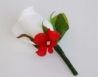 Rose Hydrangea  Boutonniere Corsage Wedding Bridal Prom Groom Groomsmen Quinceanera
