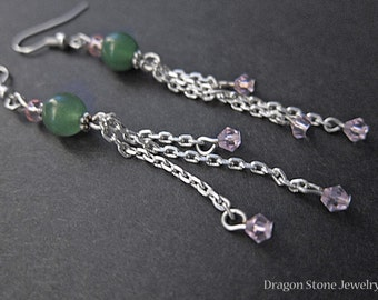 Aventurine Dangle Earrings with Pink Sparkle Beads