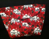 Bag Makeup, Cosmetic, pouch. Red Roses & Skulls print, cotton