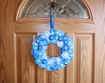 """Beautiful blue spring 12 """" Custom  Rosette Wreath perfect for your home"""