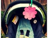 Infant, Newborn Girl Baby Shower Gift, Flower Sign, Preemie Car Seat Tag