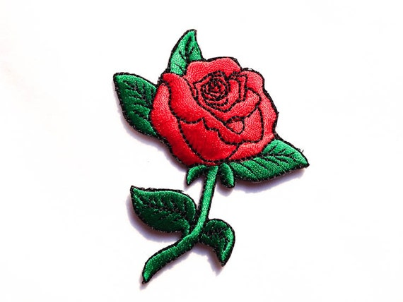 Rose tattoo iron on patches old school red