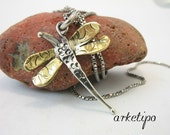 """Handmade """"Dragon Fly"""" Necklace of sterling silver and brass with sterling silver chain"""