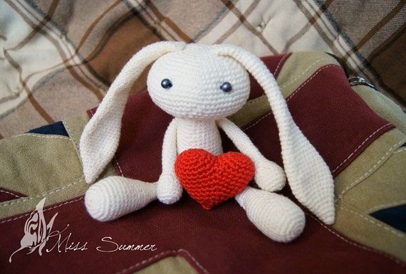PDF Crochet Amigurumi Pattern Valentine White Bunny with a Red Heart COMMERCIAL USE