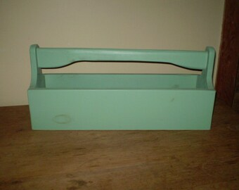 Handmade Green Farmhouse Tool Box--Magazine Rack