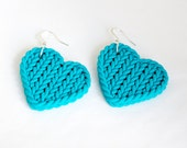 Polymer turquoise heart star faux knitting earrings