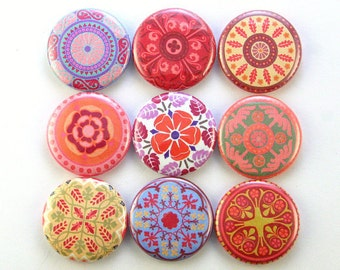 medallion mandala flower magnet fridge pin badge button cab charm