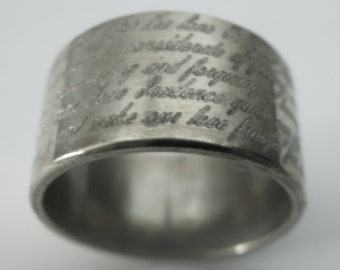 Marriage Prayer Engraved Wedding Band 12mm Wide Sterling Silver