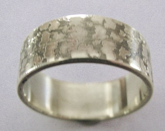 Gold Nugget Ring Engraved Wedding Band 8mm Wide Sterling Silver