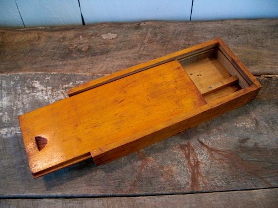 Vintage Wooden Pencil Box Handmade Box Small Wooden Box