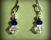 Delicate Clear Swarovski and Blue Crystal Earrings