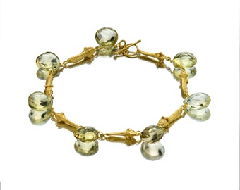 Gold Bracelet - 18K Gold Bracelet - Lemon Stone Bracelet - Seeds Collection - Free Shipping!!!
