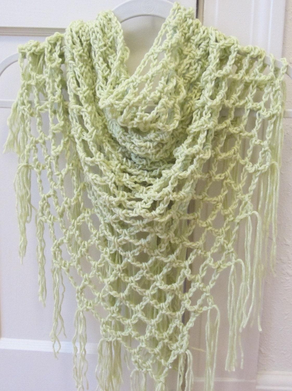 Lace Triangle Shawl Crochet Pattern : Sale Crochet Pattern Open Lace Arch Shawl by APieceOfCrochet
