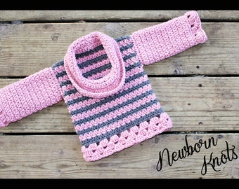 CROCHET PATTERN for Baby Sweater with Cowl Neck. Pattern number 007. Instant Download