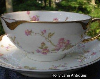 Half Price Haviland Sale, Antique Haviland Limoges Cup and Saucer, Schleiger 462, Roses, Tea Party, Collectible China, France,Shabby Chic, R
