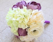Purple Wedding Bouquet - Silk Bridal Bouquet in Purple Green White - Silk Peony Hydrangea Ranunculus Bridal Bouquet Bridesmaid Bouquet