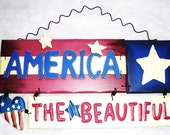 America The Beautiful Wood - Tin Flag Hanging- Home Decor - Fourth of July - Patriotic - RosiesHut