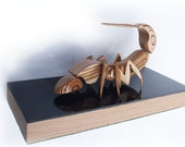 Earwig Sculpture Mounted Timber Original