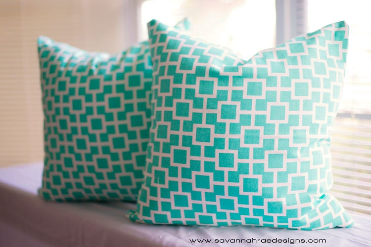 Tiffany Blue dorm Room Pillows TWO Modern Throw Pillow