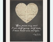 """11x14 """"You pierce my soul. I am half agony, half hope. I have loved none but you."""" - Jane Austen """"Persuasion"""" Wall Art"""