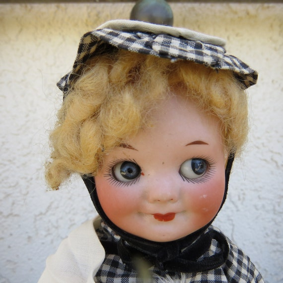 Antique german Armand Marseille 323 googly eye doll, bisque porcelain head composition body