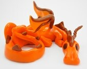 Orange and Chocolate Dragon Polymer Clay Sculpture