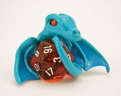 Sky Blue Dice Dragon with Translucent Red D20