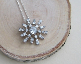 Silver Crystal Snowflake Necklace - 18 inch