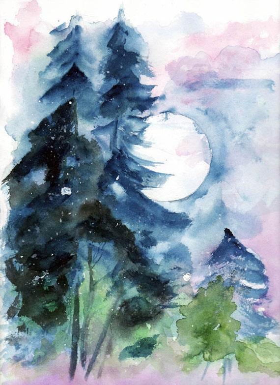 Items Similar To Landscape Watercolor Trees Moon Dark Bleu