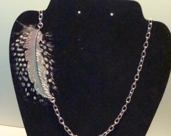 Black and White Polka Dot Feather Necklace