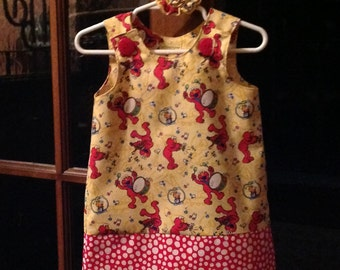 Elmo Sesame Street Dress, Red and Yellow (baby, toddler, girls, infant, child) Jumper or Sundress, with Matching Hair Accessory