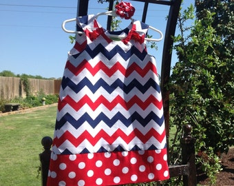 Patriotic Chevron Dress, Red White and Blue, 4th of July, Independence Day, with matching hair accessory.